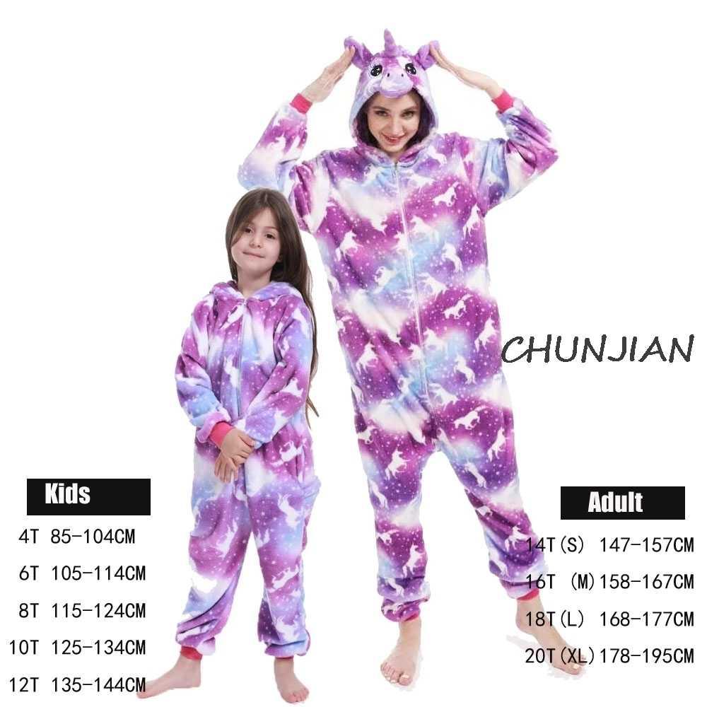 Dewasa Panda Licorne Unicorn Piyama Wanita Pria Unisex Flanel Oneise Jumpsuits Overall Pijamas Hewan Gambar Kartun Baju Tidur