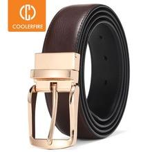 Mannen Omkeerbare Jurk Riemen Casual Hoge Kwaliteit Riem Echt Lederen Riem Mannelijke Vintage Luxe Coolerfire HQ108