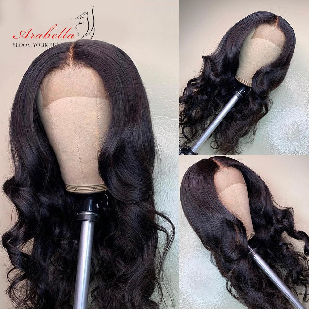 Closure Wig 210% Density Brazilian Body Wave Wig With Baby Hair Arabella Remy Hair Pre Plucked 4*4 Lace Closure Human Hair Wigs