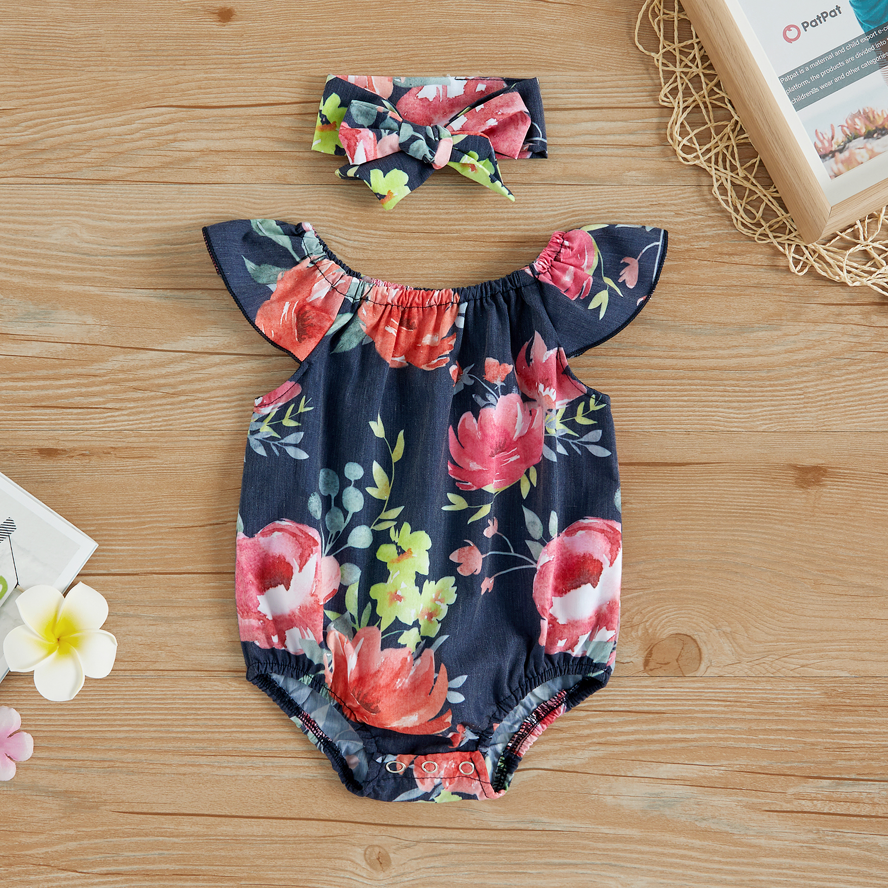 12-18M, Pink MIOIM Lovely Baby Girls Floral Crawl Romper Headband Onesie Sunsuit Outfits