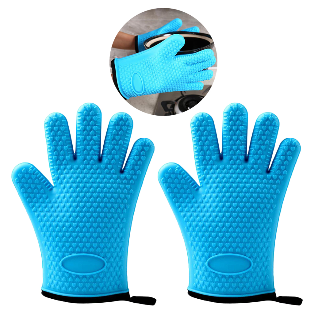2-Pieces Silicone Gloves Anti-Skid Waterproof Cooking Gloves for Home Restaurant