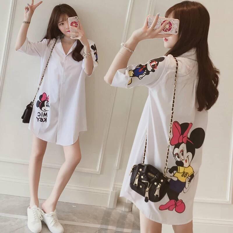 5 XL Women Shirt Plus Size Blouse Cartoon White Blouse Minnie Cotton Casual Fashion Voile Plus Size Women Clothes 1