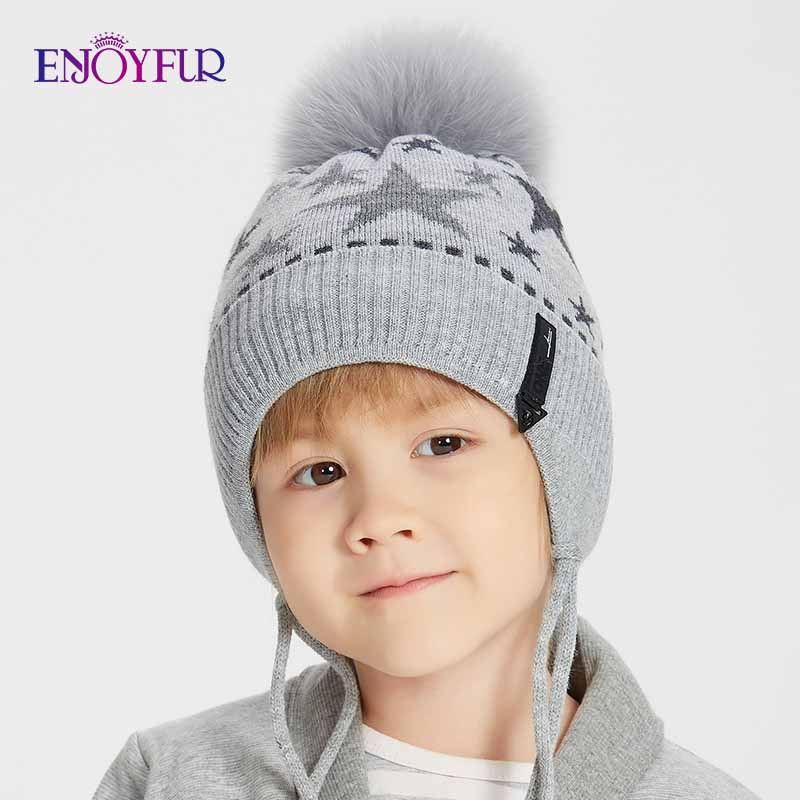 ENJOYFUR Kids Cotton Hats For Winter Real Fox Fur Pompom Boys   Beanies   Children Cute Stars Pattern Ears Cap New Gorros