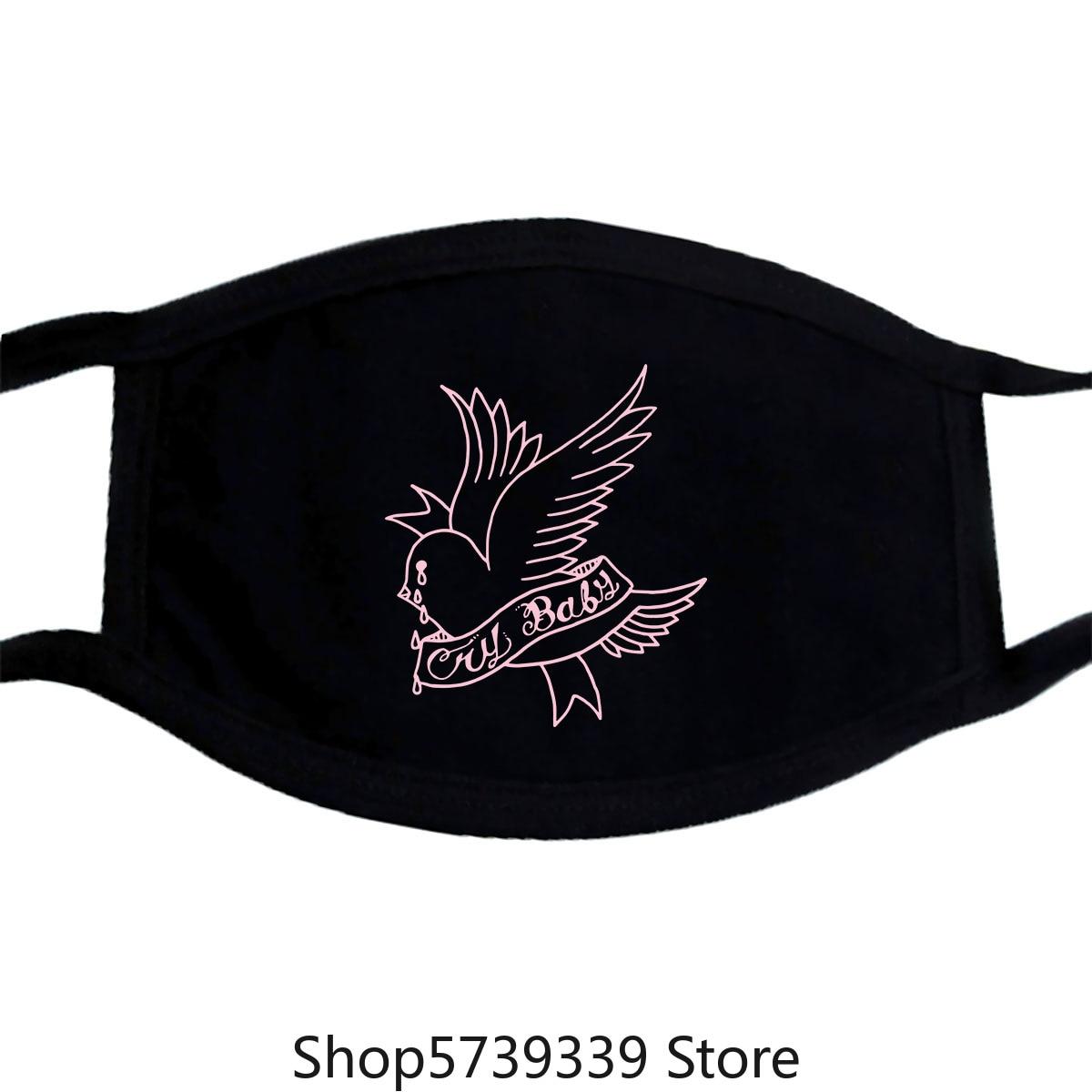 Lil Peep Dove,Crybaby Tattoo Mask Size Large Washable Reusable Mask For Unisex Black