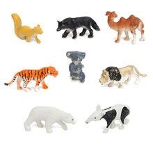 8 pz/set Zoo di plastica figura animale tigre leone giocattolo per bambini Mini animali selvatici Action Figures Set figurine giocattoli animali regali per bambini