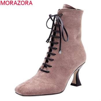 MORAZORA 2020 winter new arrive fashion lace up ankle boots stiletto high heels square toe prom shoes high quality women boots