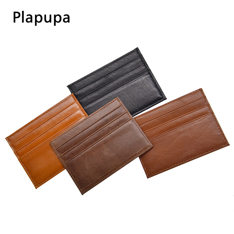 100% Genuine Leather Vintage ID Credit Card Holder Multiple Bank ID Card Holder Small Thin Wallet Card Cover Customize Name LOGO