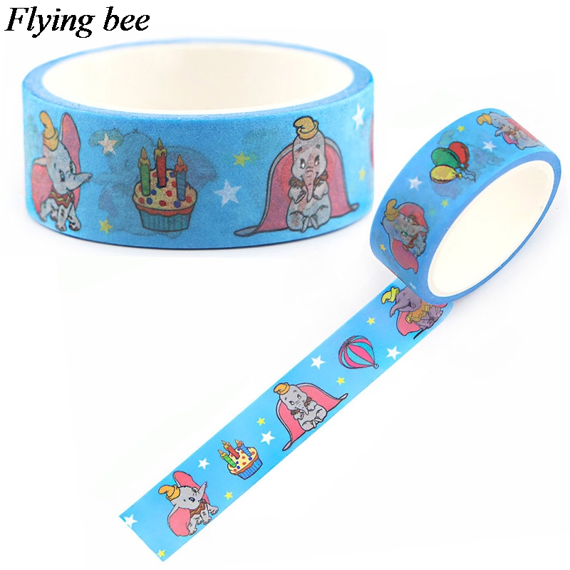Flyingbee 15mmX5m Elephant Cartoon Washi Tape Paper DIY Decorative Adhesive Tape Stationery Lovely Masking Tapes Supplies X0615