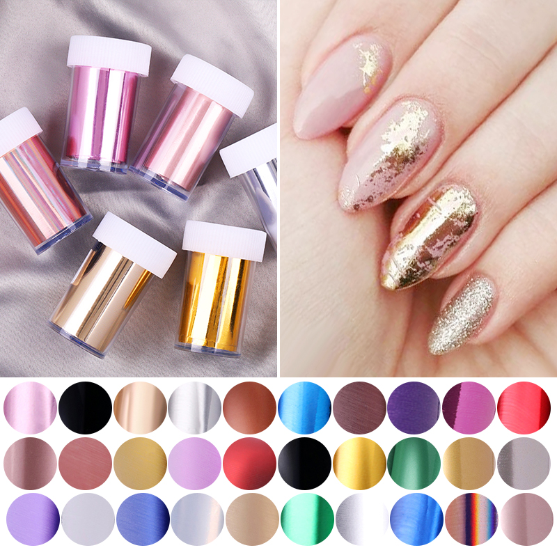 1PC Charm Mirror Nail Foils Polish Stickers Metal Color Sparkly Paper Transfer Foil Wraps Adhesive Decals Nail Art Decorations