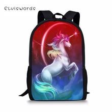 ELVISWORDS Childrens Backpack Fantasy Unicorn Horses Pattern Toddler School Book Bag Cartoon Fashion Womens Travel