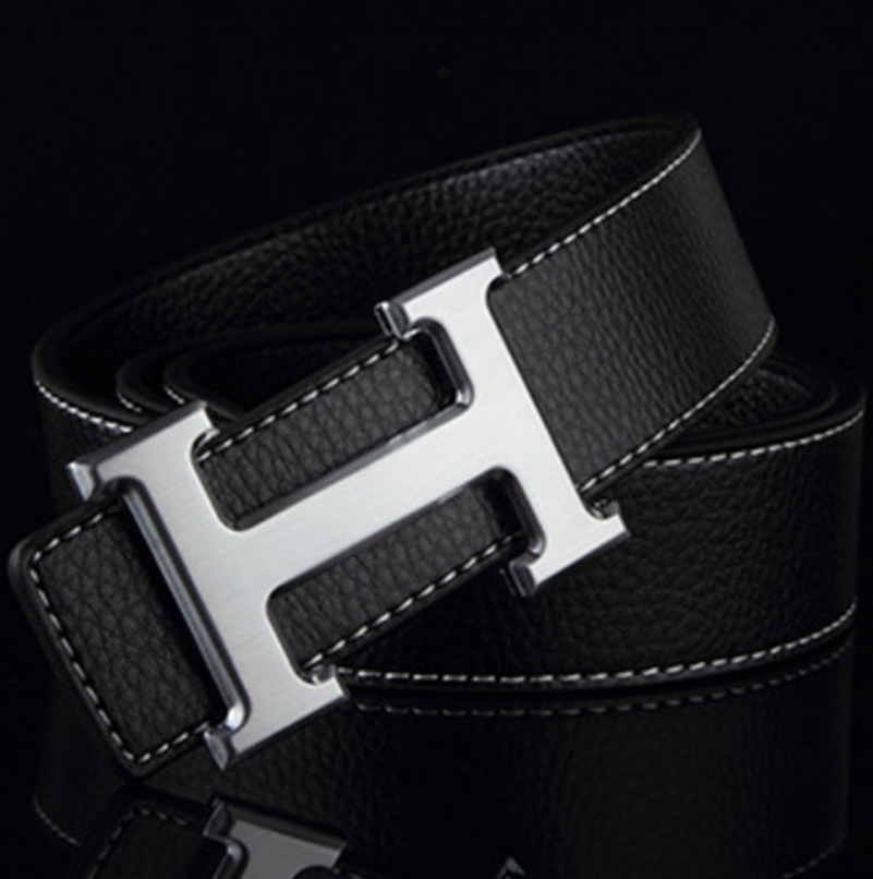 Men Belt Cowhide Genuine Leather Belts for Men Fashion Smooth Buckle Belts With Letter