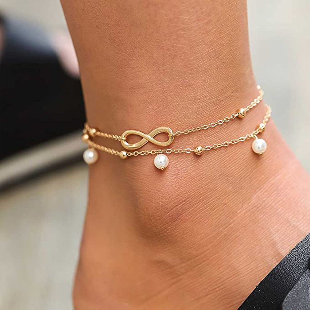 Boho Initial Anklet Heart Infinity Silver Color Ankle Bracelet on Leg Chain Number 8 Anklets For Women Ankle Beach Foot Jewelry