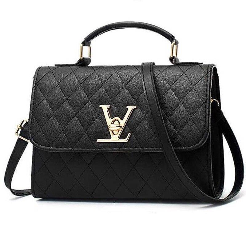 2019 Hot Sale High Quality Chic Pu Small Square Bag Black Shoulder Bag Lock Plaid Bags For Women Messenger Bags Ladies Hand Bags