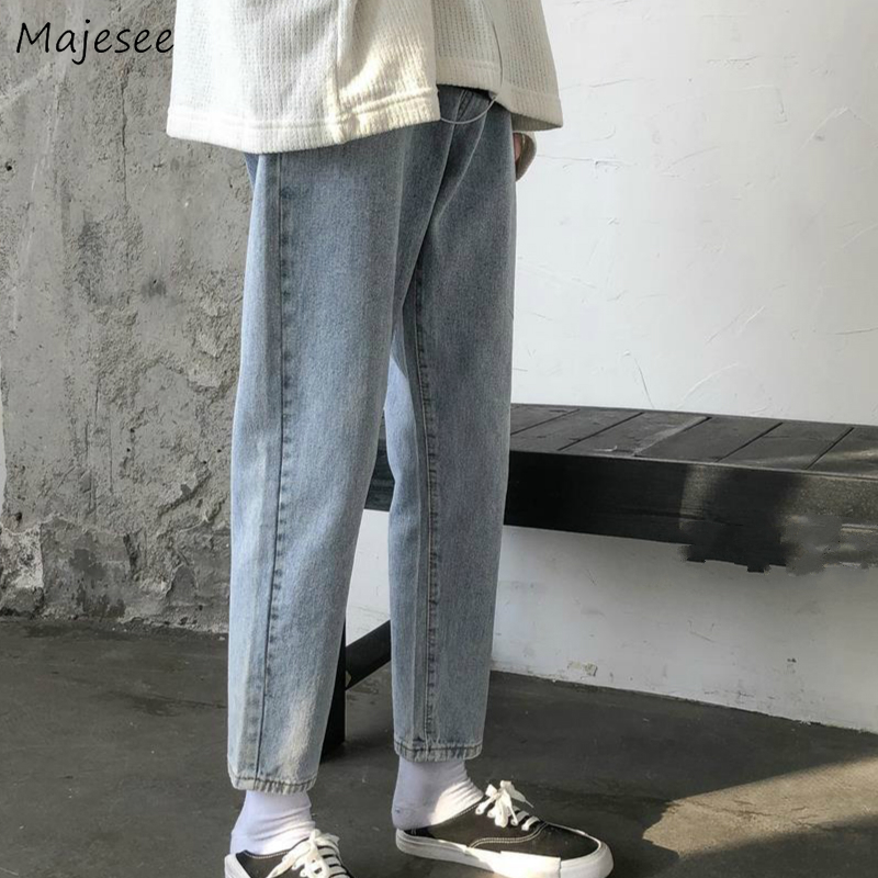 Men Jeans Spring Solid Loose Washed Ankle-length Chic Mens Harajuku Big Size 3XL Loose Simple All-match Students Ulzzang Trendy