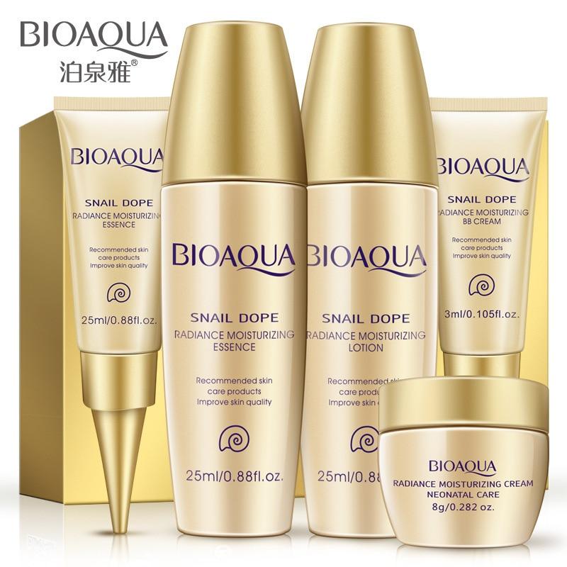 BIOAQUA Snail Face Skin Care Sets Hyaluronic Acid Moisturizing Whitening Facial Day Cream+Toner+BB Cream+Eye Cream+Serum Lotion