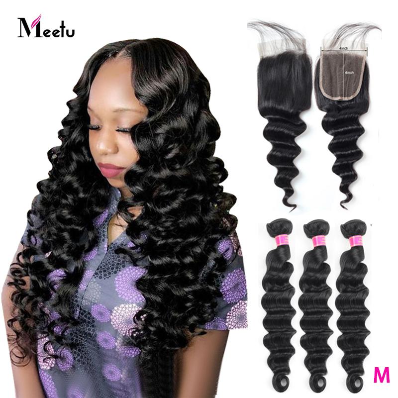 Meetu Brazilian Loose Deep Wave Bundles With Closure Baby Hair Human Hair Bundles With Closure 4x4 Inch 3 Bundles With Closure