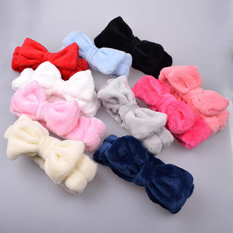 Coral Fleece Wash Face Bow diademas para las mujeres elástico suave accesorios para el pelo turbante niñas de baño diadema para maquillaje Headwear caliente