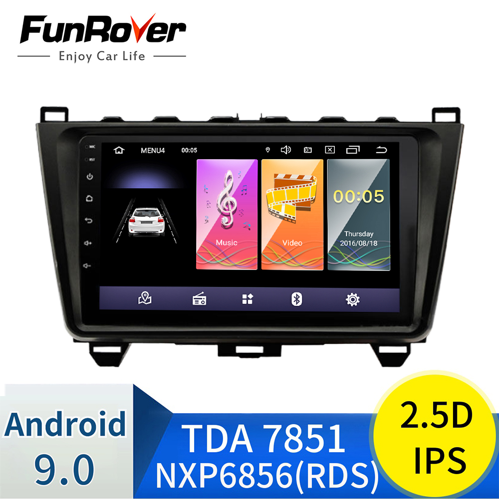 Funrover 2.5D+IPS Car Radio Multimedia player 9'' Android 9.0 2 din DVD For <font><b>MAZDA</b></font> <font><b>6</b></font> Mazda6 2008-2015 <font><b>GPS</b></font> <font><b>Navigation</b></font> stereo audio image
