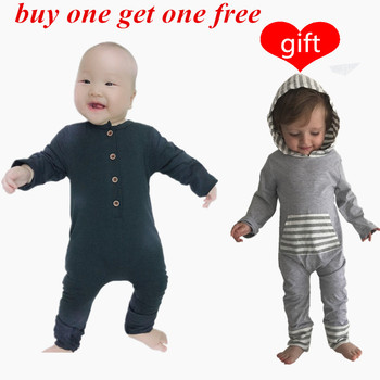 Seartist Baby Boys Romper Newborn Cotton Long Sleeve Jumpsuit Boy Spring Solid Black Gray Rompers Pajamas 2020 New Free Gift 30