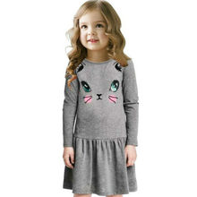 2020 Prinses Kinderen Meisjes Jurken Mode Lente Cartoon Kat Print Kinderen Lange Mouw Meisje Katoenen Party Dress Kid Kleding(China)