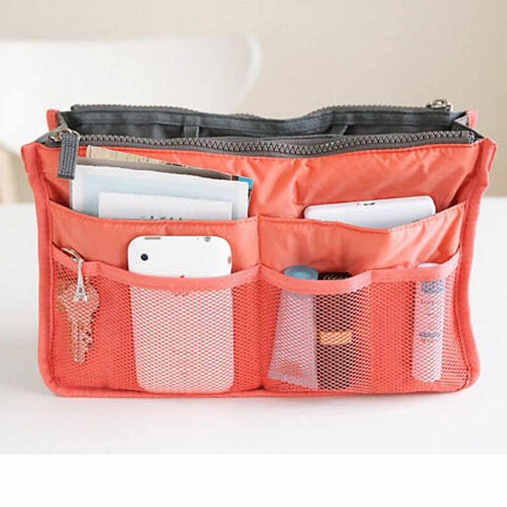 New Fashion Women Makeup Bag Portable Make up Cosmetic Bag Multifunction Dual Zipper Storage Bag Cosmetic Organizer Holder