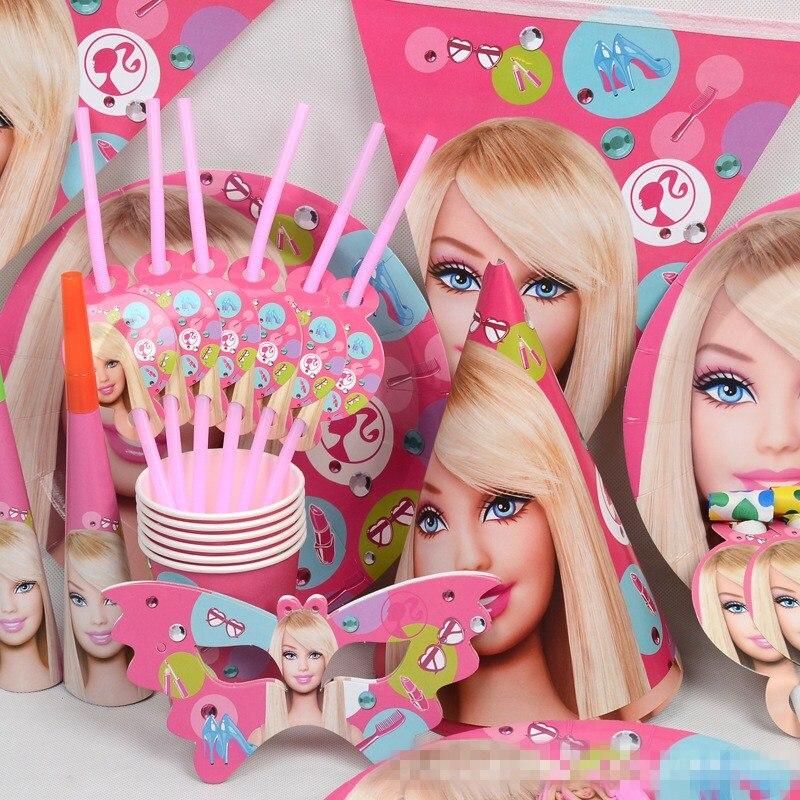 Вечерние поставки 99 шт. с изображением «Барби» для девочек тема 6 Человек Детские вечерние свадебные украшения событие партия поставок поль...