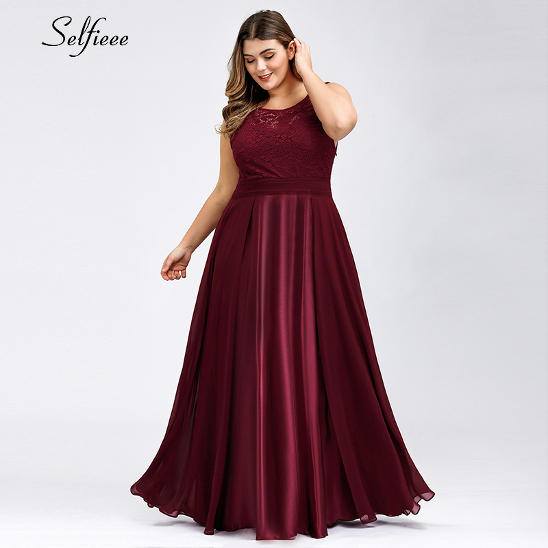 Elegant Lace Women Dress Plus Size A-Line O-Neck Sleeveless Satin Maxi Dress Ladies Sexy Burgundy Party Dress Ropa Mujer 2019