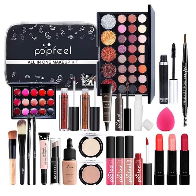 Conjunto de maquillaje profesional para niñas principiantes, caja de almacenamiento portátil para viajes, 27 Uds. 4