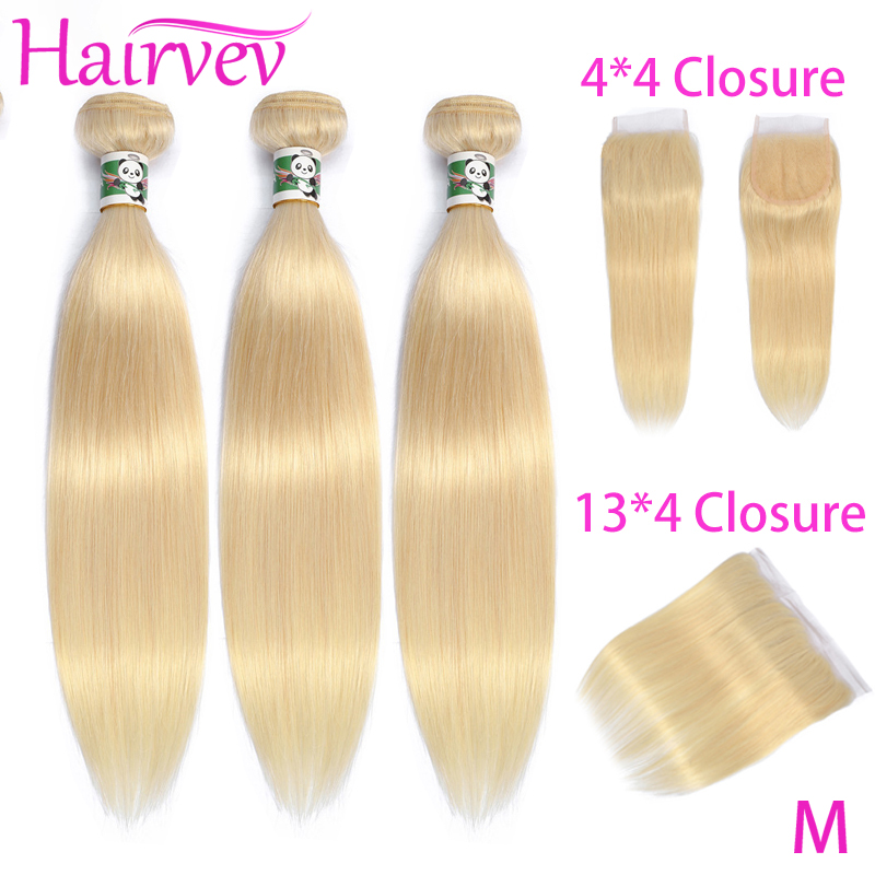 Hairvev 613 Blonde Bundles With Frontal Closure Peruvian 613 Straight 3 Bundles With Frontal Remy Human Hair Middle Ratio image