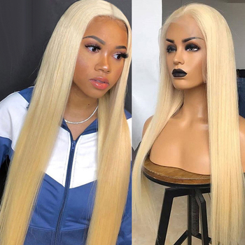 HD Transparent 613 Blonde Lace Front Human Hair Wigs Straight Pre Plucked Brazilian Straight Remy Human Hair Lace Frontal Wigs image
