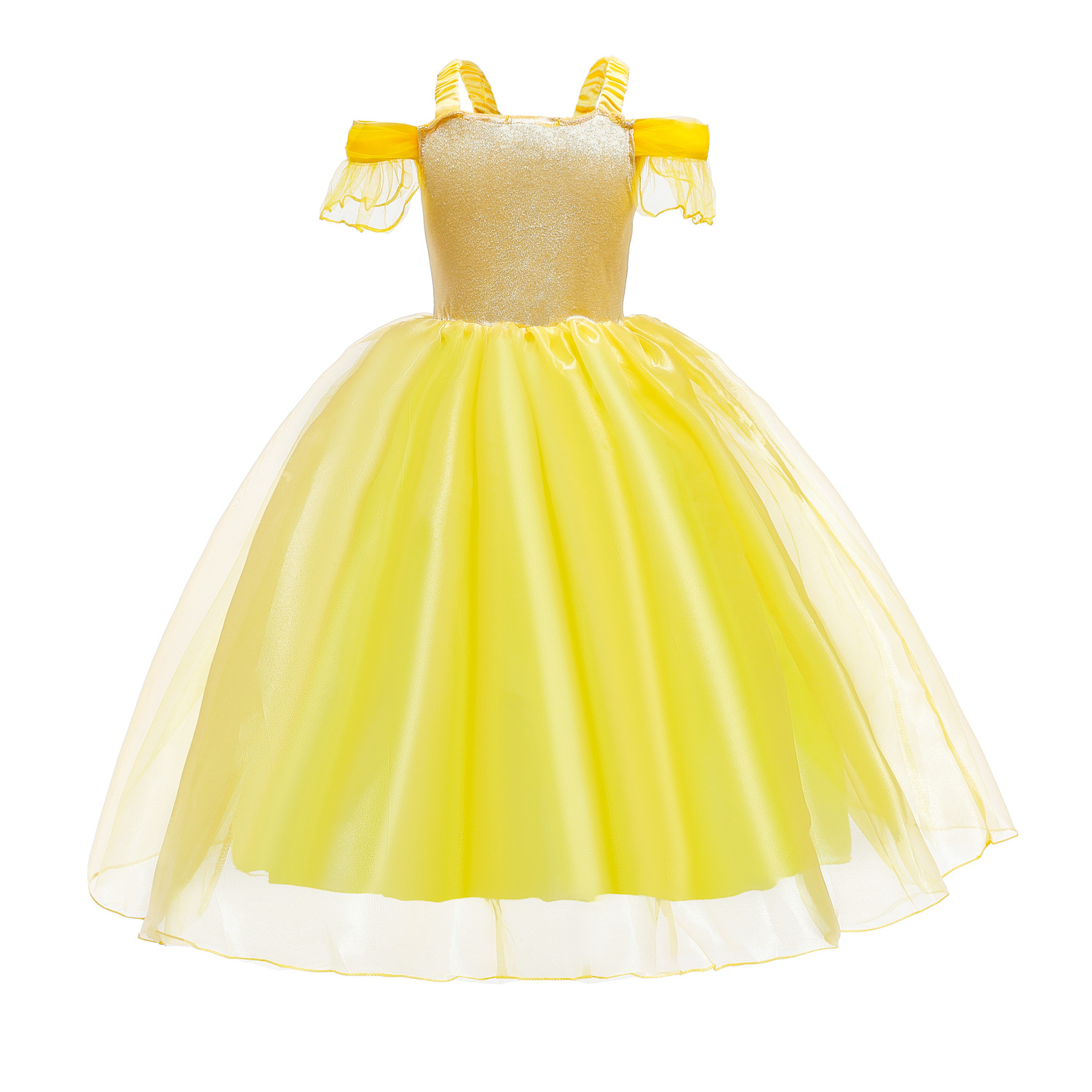 Image 4 - Cosplay Princess Belle Girl Dress For Halloween Party Drama Prom Christmas Costume Kids Clothes Beauty and The BeastGirls Costumes   -