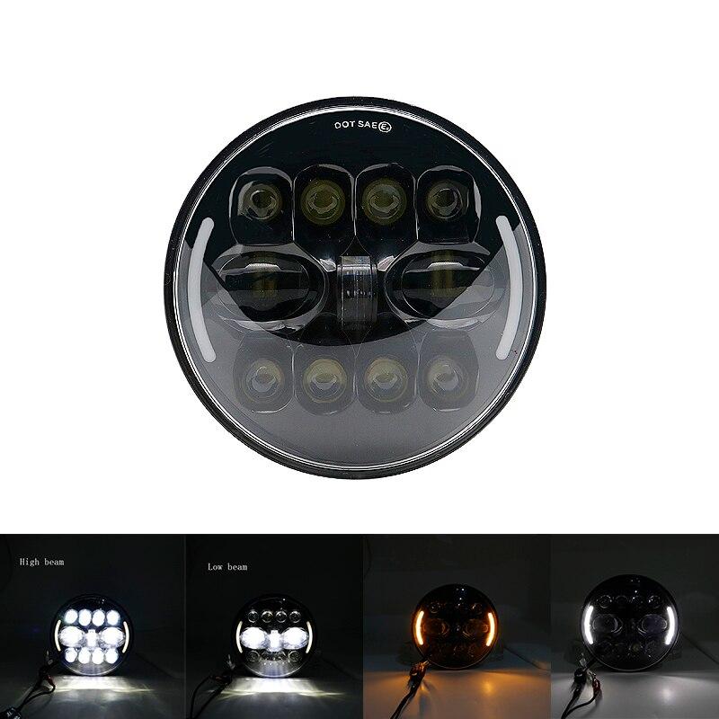 """Для lada Niva 4x4 suzuki samurai """" светодиодный DRL H4 галогеновые фары головного света для ВАЗ 2101 7 дюймовый светодиодный фар головного света с Halo Кольцо желтый сигнал поворота - Цвет: 55W Headlight Black"""