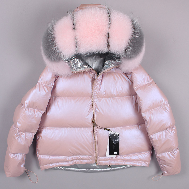 Large Real Natural Fox Fur collar winter jacket loose short coat sliver white duck down Coat Women Down sliver Parkas