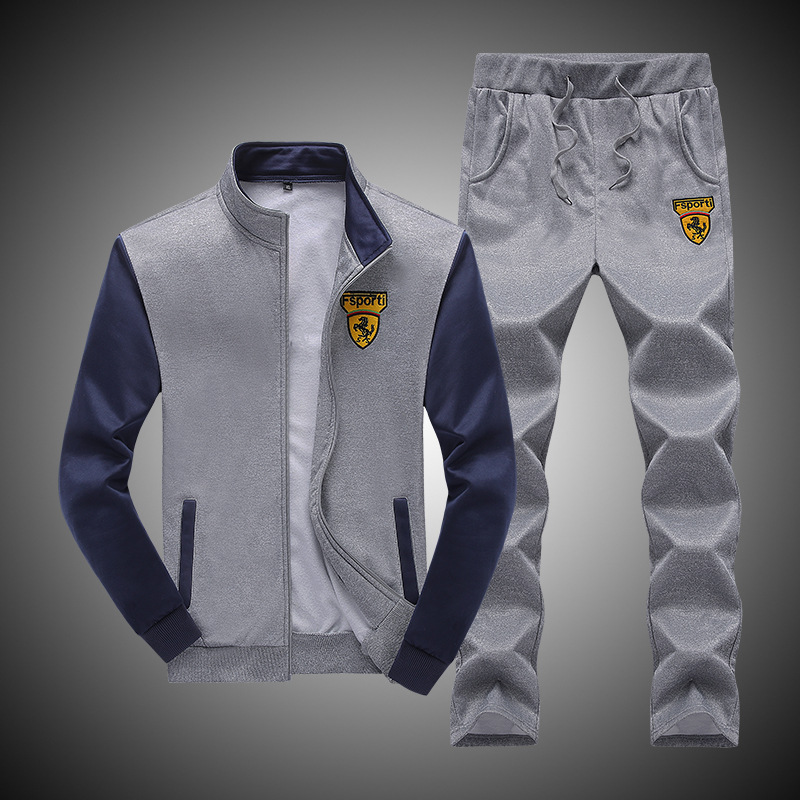 Autumn Men Leisure Sports Suit Men's Teenager Baseball Uniform Long-sleeved Coat Two-Piece Set Men'S Wear