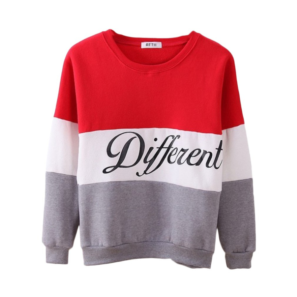 Fashion Letter Different Printed Women Fleeve Hoodies Spring Long Sleeve Sweatshirt Patchwork O-neck Pullovers Sudaderas 2019