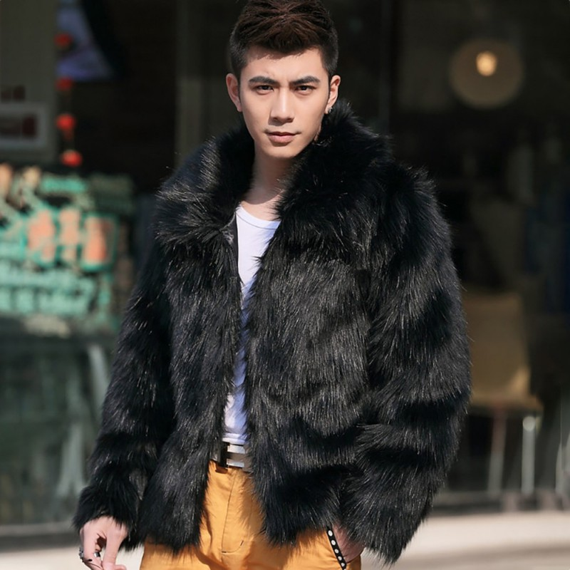 2019 Men\'s Clothing Faux Fur Coats Long Sleeve Turn Down Collar Hairy Overcoat Winter Warm Outwear Hairy Coat Fashion
