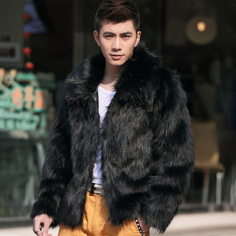 2019 Men's Clothing Faux Fur Coats Long Sleeve Turn Down Collar Hairy Overcoat Winter Warm Outwear Hairy Coat Fashion