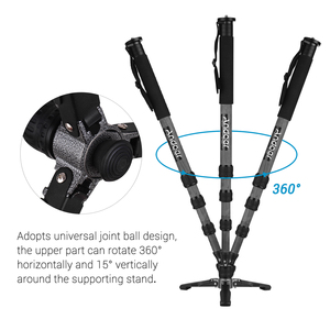 Image 5 - Andoer TP 340C Portable Carbon Fiber Camera Monopod 34mm Pipe Diameter with Three Legged Supporting Stand for DSLR Cameras