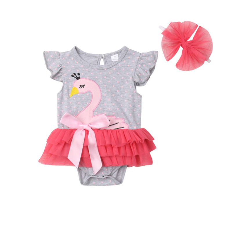 2020 Summer Newborn Infant Kids Baby Girls Swan Romper Headband Crown Swan Ruffles Jumpsuits Clothes 0-24M image