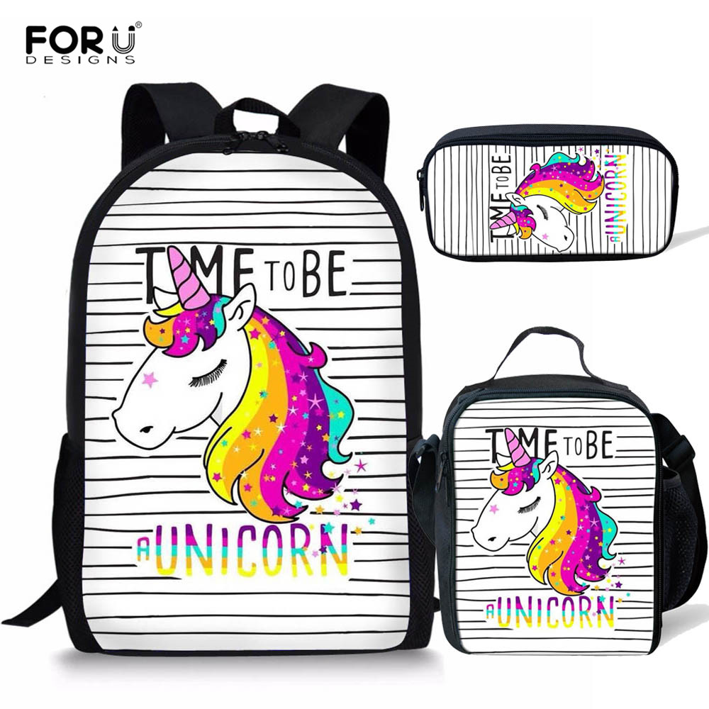 FORUDESIGNS Unicorn School Bag Set For Girls Kids Backpack Orthopedic Primary Satchel Schoolbag Unicornios Mochila Escolar 2019