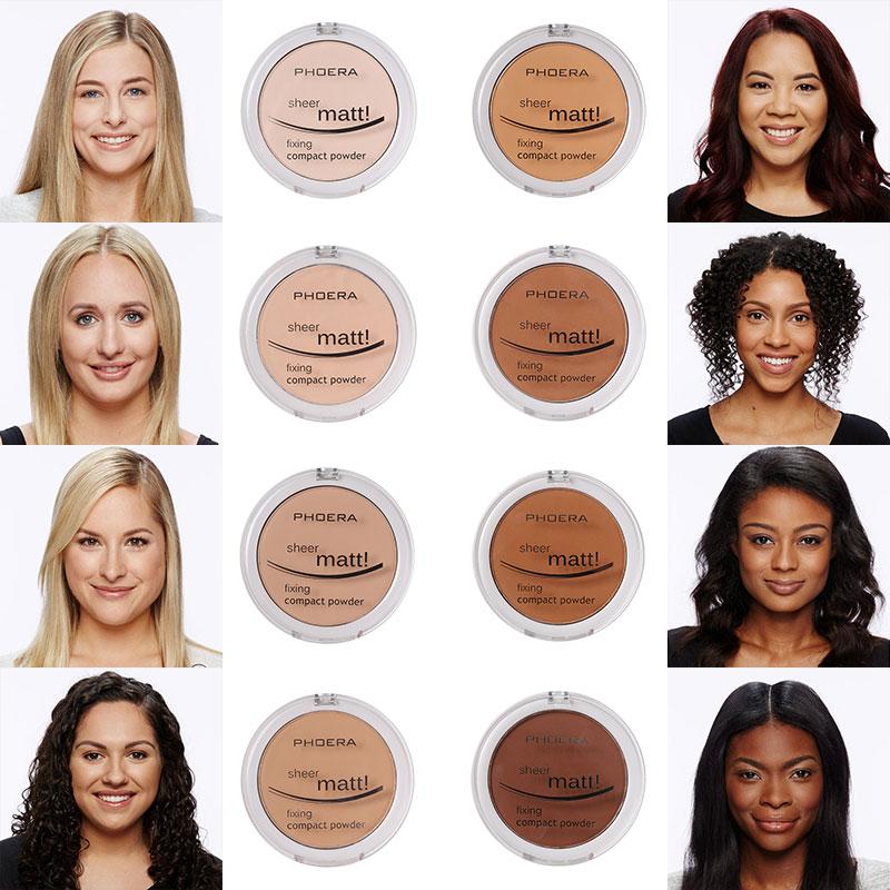 PHOERA 8 Color Powder Cake Makeup Concealer Face Foundations Makeup Oil-control Waterproof Loose Powder Skin Finish Powder TSLM2