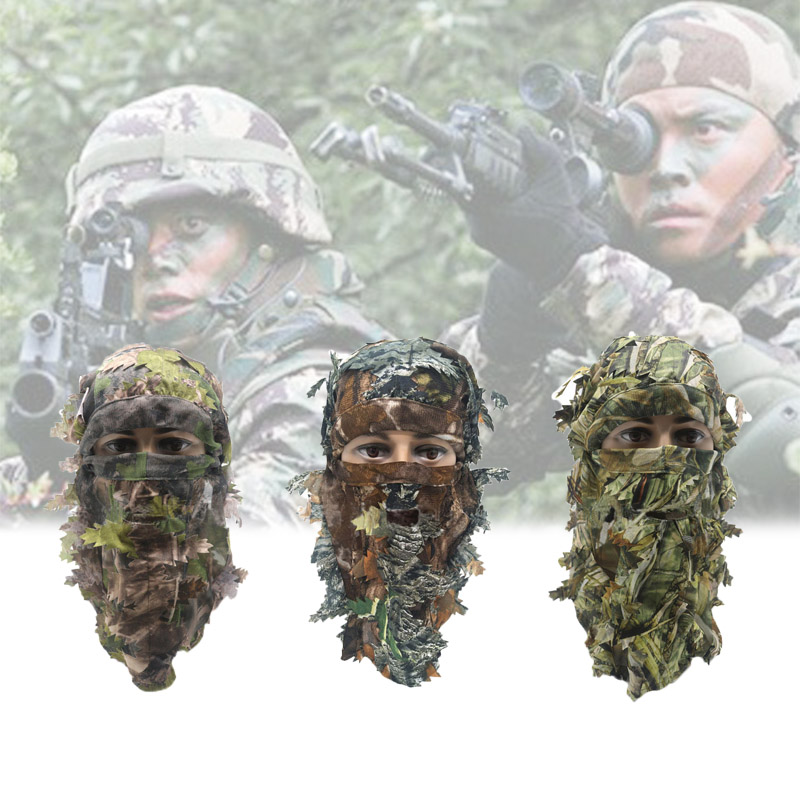 Airsoft Mask 3D Leaf Blind Mask Outdoor Multi-functional Camping Hunting Bionic Camouflage Headgear CS Cover Equipment Leaf Mask