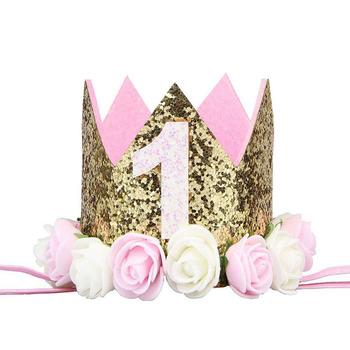 Szczęśliwe pierwsze urodziny czapki imprezowe Decor czapka jedna czapka urodzinowa księżniczka korona 1st 2nd 3rd lat stary numer dziecko dzieci akcesoria do włosów tanie i dobre opinie Chrzest chrzciny Płeć Reveal Birthday party Rocznica Chłopiec i Dziewczynka Flower LXY016