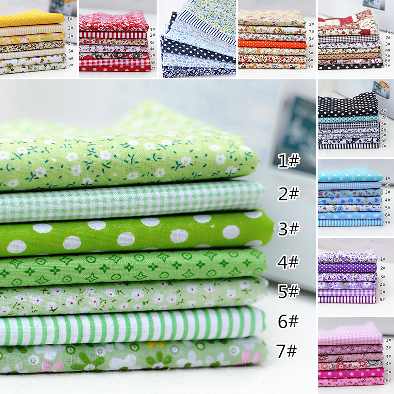 7pcs/set 25cmx25cm Square Cotton Fabric Printed Cloth Sewing Quilting Fabrics For Patchwork Needlework DIY Handmade Material