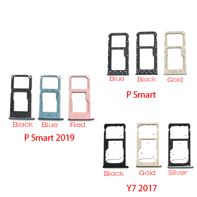 SIM Card Slot SD Card Tray Holder Adapter For Huawei Y7 Y6 Pro 2017 P Smart 2019 SIM Card Tray Replacement Spare Parts