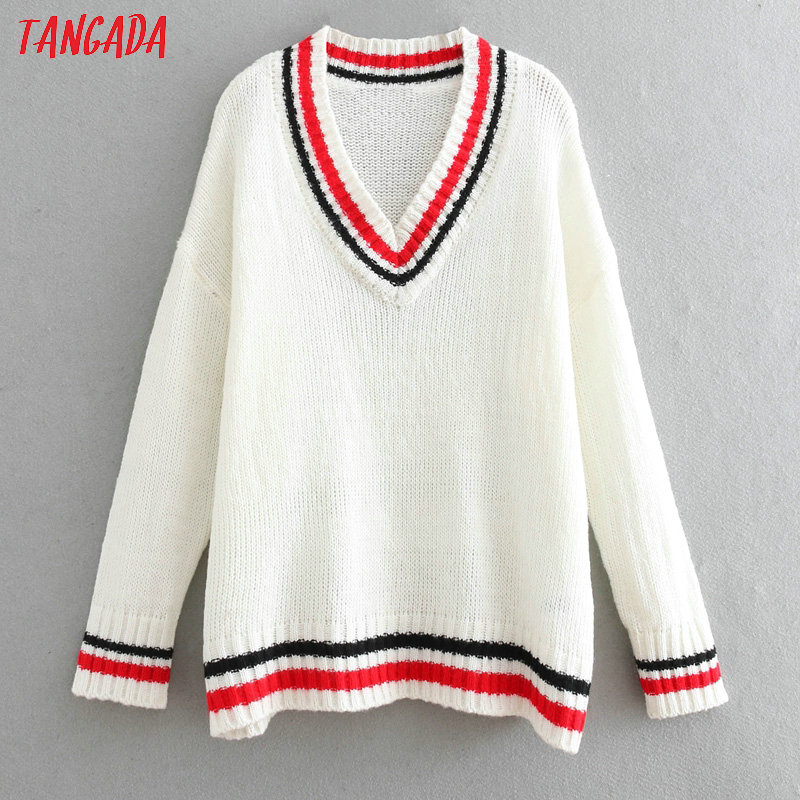 Tangada Korea Chic Women Oversized School Style Sweater Vintage Ladies V Neck White Knitted Jumper Tops BE310