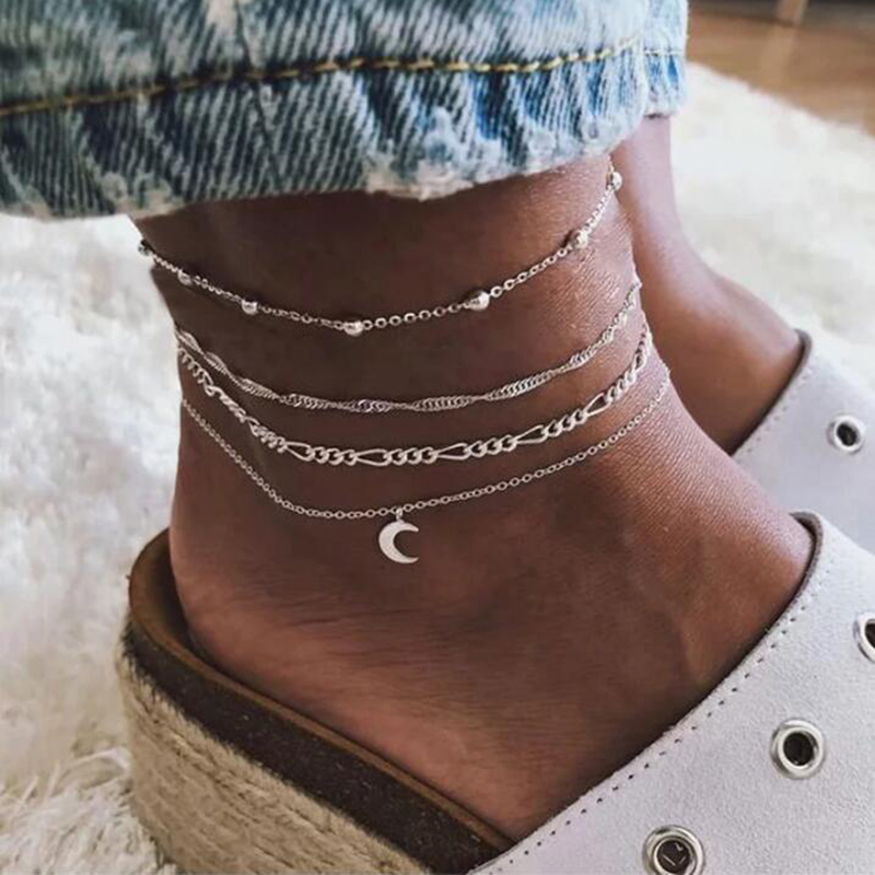 YAOLOGE Bohemian Multilayer Beads Anklet Set For Women Moon Pendant Bracelet On The Leg Ankle Strap Anklets Foot Jewelry Boho