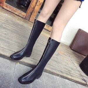 Image 3 - ファッションノベルティ女性ニーハイブーツ PU 低平方つま先秋冬ブーツ固体ジッパー女性の靴