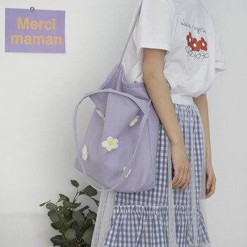 Women's Foldable Reusable Shopping Bag Eco Handbag Beach Bag shopper large Capacity Casual Canvas Shoulder Bag Flower Print Tote rope canvas print beach bag