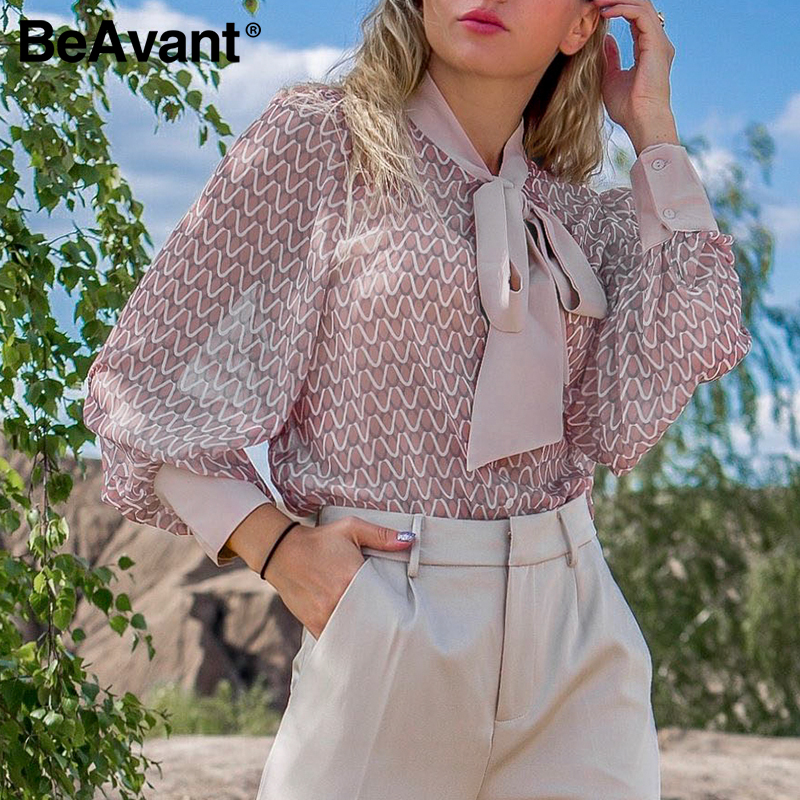 BeAvant Ladies Bow Tie Neck Fashion Blouses Women Spring Summer Long Sleeve Casual Tops And Blouse Elegant Shirts Female 2020
